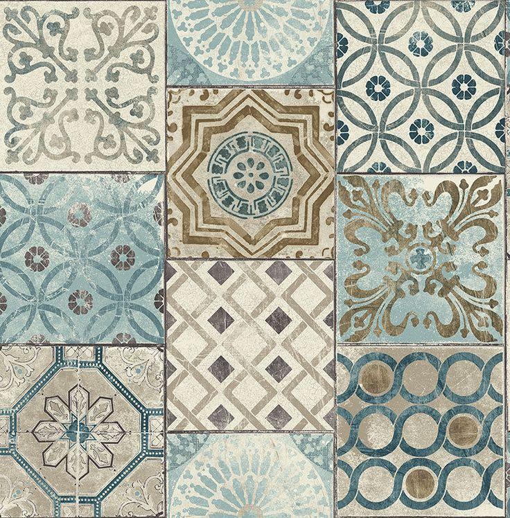 Tapete Orientalische Kacheln : Tapete, Designtapete, Ornamente, Marmor, Kacheln, Blau, Messing, Ecru