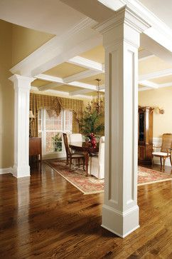 remodeling--I like these columns and the ceiling between the columns. Would be good for the dining room area we are knocking out