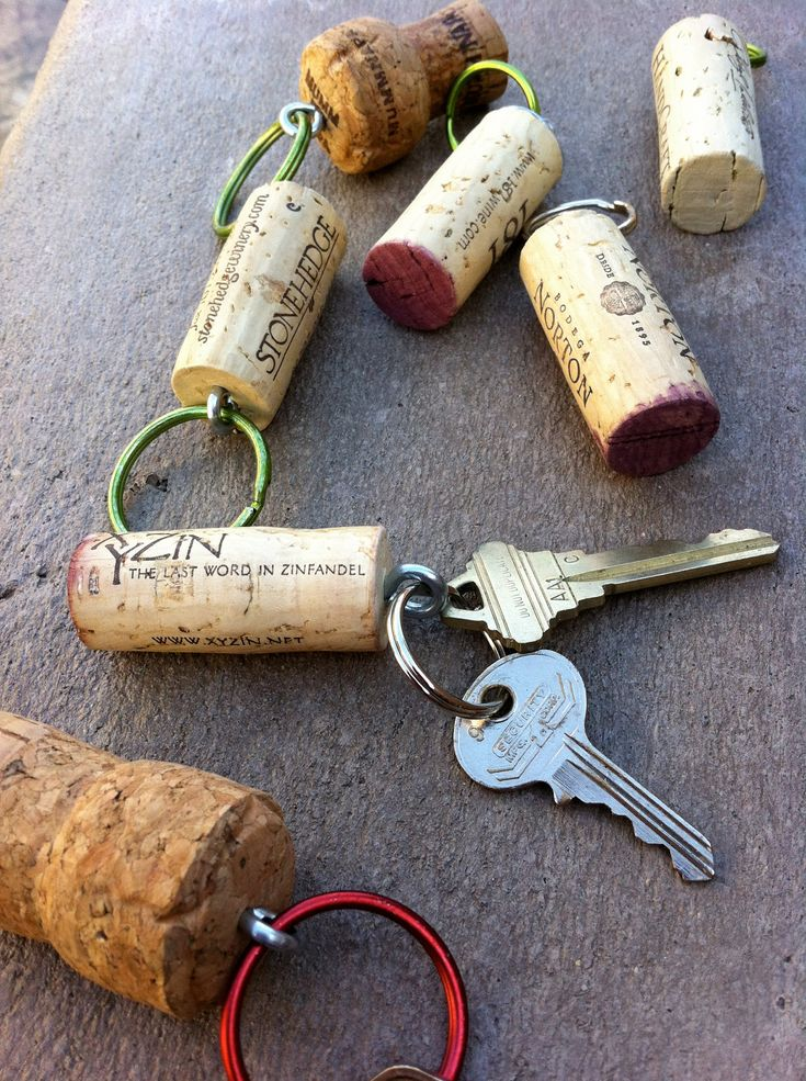 DIY Cork Key Chains for water activities. No tutorial, but it's pretty much self explanatory.