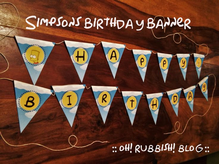 Simpsons Birthday Banner Printable :: Party Ideas :: Decorations :: Garland :: Bunting :: Bart :: Homer :: The Simpsons :: by oh! rubbish! blog