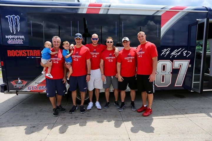 The Gronk Family Genes powering through with just boys!   Great weekend with my fam at our youth football camp. Everybody got to check out the new 87 Gronk Bus as well!
