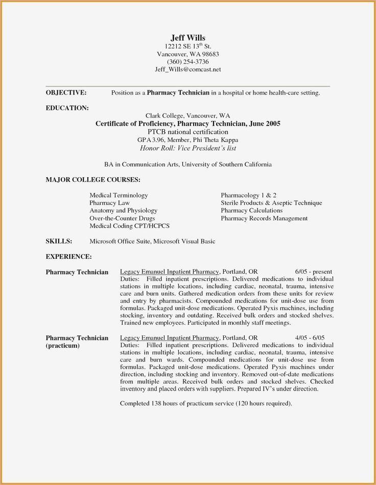Pharmacy Technician Job Description for Resume Unique