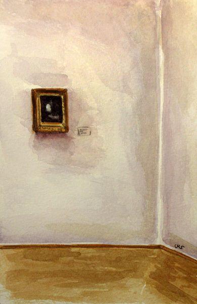 At the Albertinum - Im Albertinum, Dresden, 20x12cm, watercolor on fine paper, $40