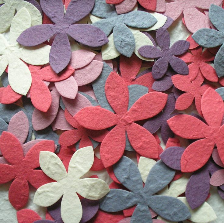 "100 diecut ""LILY"" FLOWER mulberry paper CHOICE OF COLOUR & MIX from CRAFTY COW"