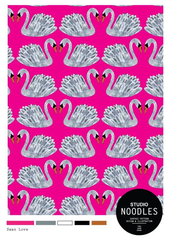 Swan Love. Surface Pattern design by Studio Noodles