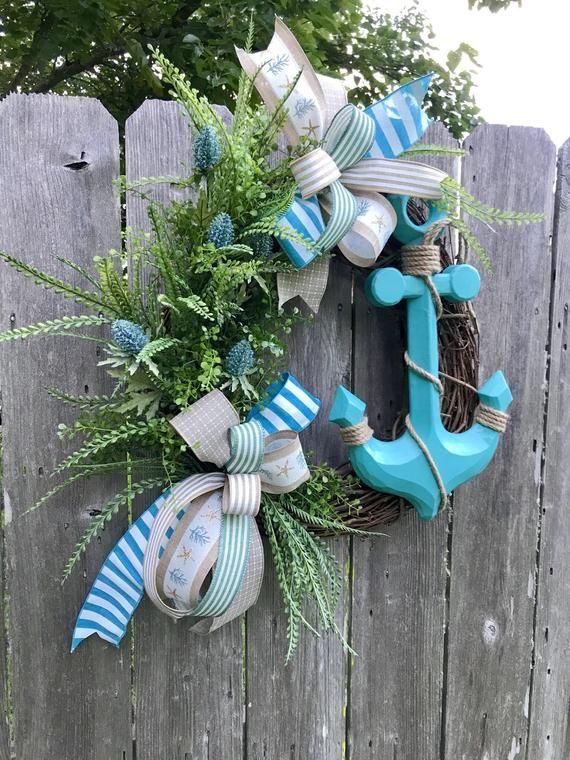 Star Fish Beach Wreath for Front Door Summer Wreath Blue and White Nautical Wreath Spring Wreath Home Decor