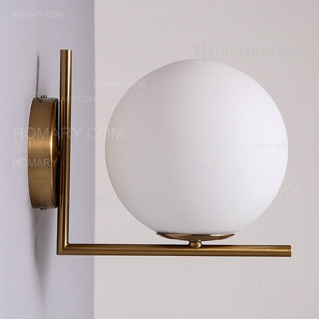 Cattel Simple White Globe Glass Shade Single Light Indoor Wall Sconce