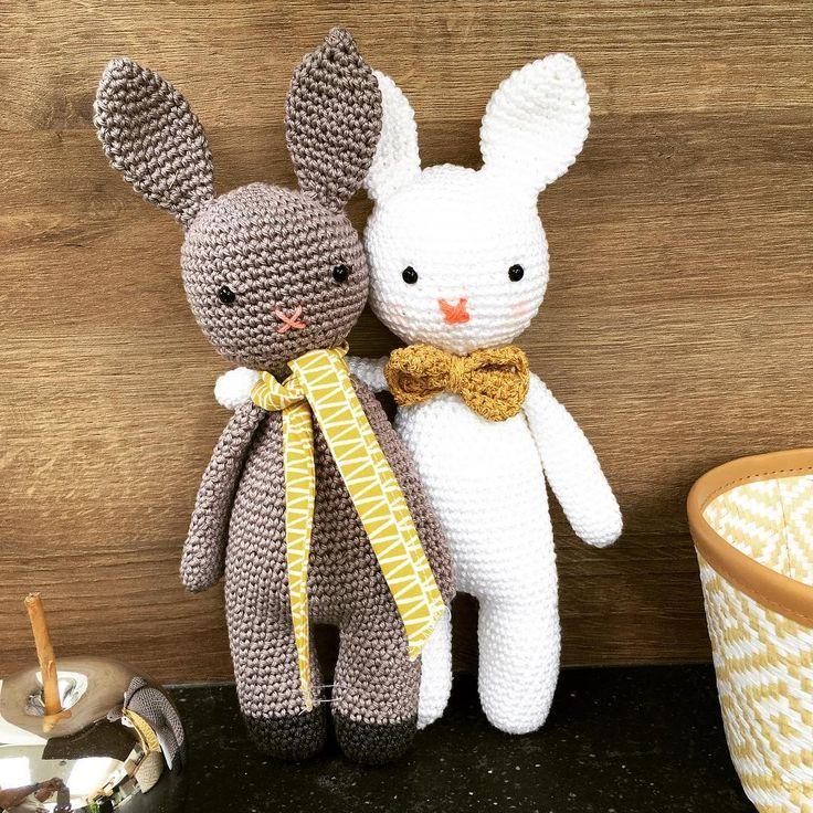 Mon petit Victor et son ami venu le rejoindre à la maison. Le modèle est téléchargeable sur le blog. Coton3 de Phildar et coton doré des magasins Action. Victor mesure 28 cm.