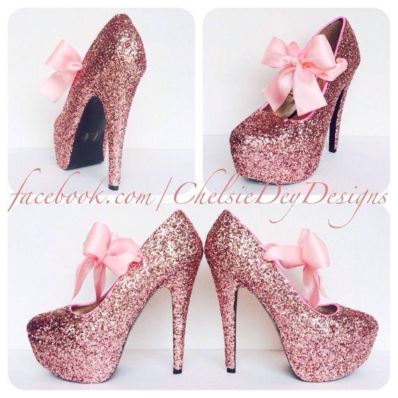 Glitter High Heels - Pink Pumps - Bubblegum Light Pink Platform Shoes - Glitzy Wedding Heels - Pink Satin Bows