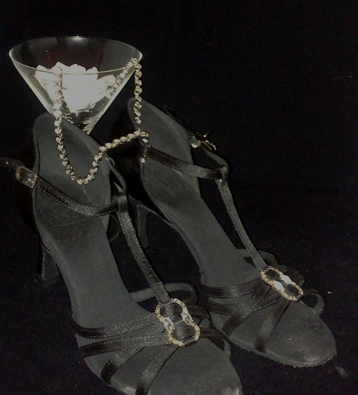 Dansschoenen zwart met diamantjes