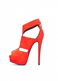 Fabulous Red Sheep Leather Peep Toe Stiletto Hee