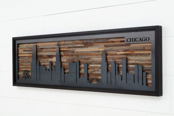 City Skyline made from reclaimed barnwood and natural black steel.