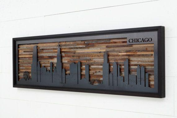 Sticker d'un horizon de la ville de barnwood recyclée et naturelle en acier noir.