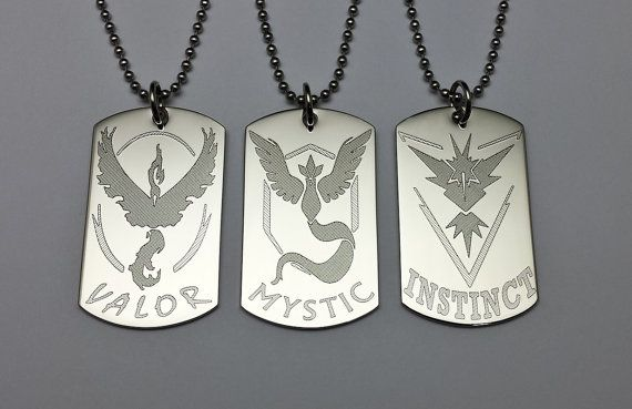 These pendants were made in shop, and engraved with a CNC diamond scribe engraver. There are 3 different tags to choose from, each featuring the name and symbol of a Go team. Get yours today to show pride and support for your team!  These dog tag style pendants are available in a nickel-plated white tone and have a high polish finish. They measure 2.00 inches in height by 1.20 inches in width. Most people do well with these pendants, but if you have an allergy to nickel, feel free to…