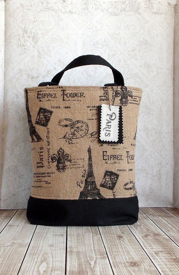 French Farmhouse Chic Farmers Market Black and Burlap Paris Eiffel Tower Tote Handbag  https://www.etsy.com/listing/185983452/french-farmhouse-chic-farmers-market?utm_source=google&utm_medium=product_listing_promoted&utm_campaign=bags_and_purses_low&gclid=COyFyPz48L0CFSsQ7Aod0G8AkA