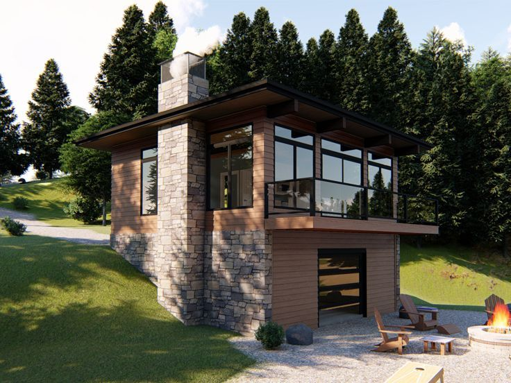 050h 0143 Modern Vacation House Plan 1 Bedroom 1 Bath Wooden House Design House Designs In Kenya Cabin House Plans