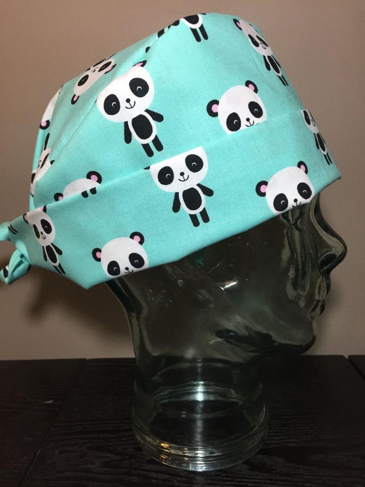 Panda Party on Aqua Surgical Scrub Hat, Adorable Women's Animal Pixie Scrub Hat, Tie Back Cap, Custom Caps Company by CustomCapsCompany on Etsy
