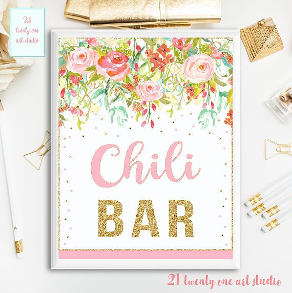 Floral Chili Bar Sign Pink and Gold Chili Bar Sign Table