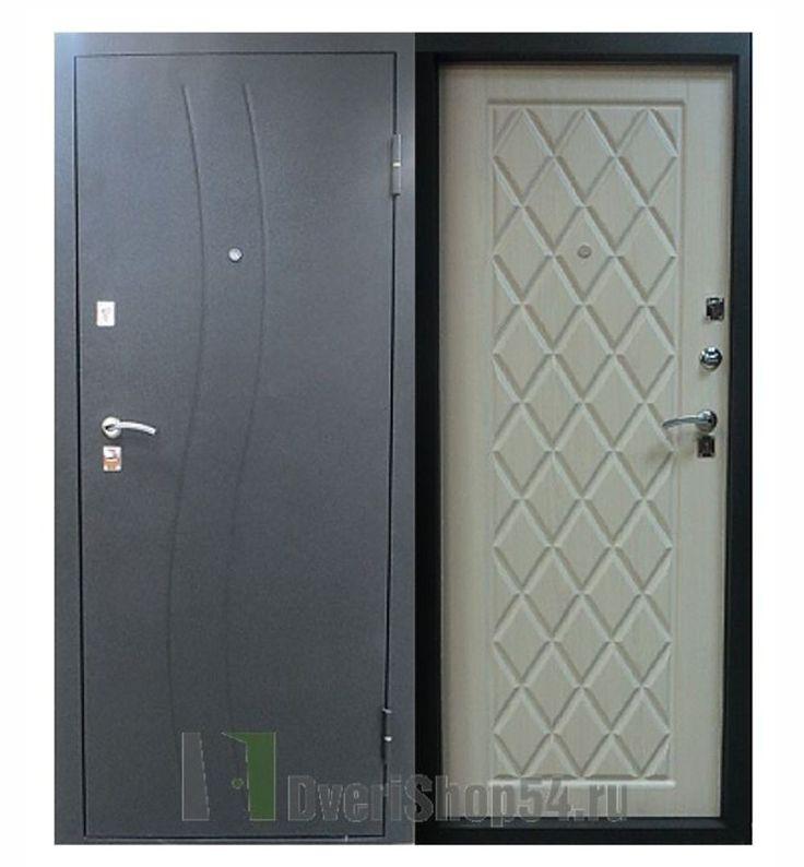 Стальная дверь, Сибирский стандарт, Водолей, Черный шелк, Беленый дуб купить в Новосибирске с установкой.