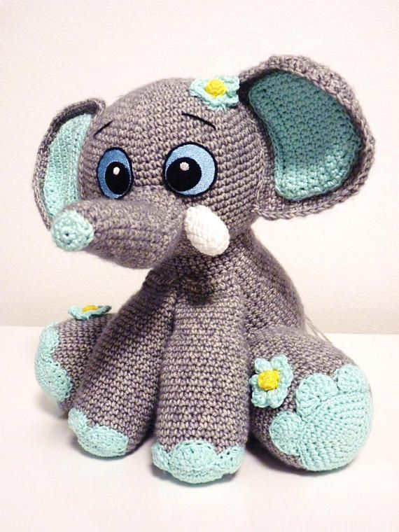 Crochet Pattern Elephant Happy Amigurumi PDF Cute Grey Mint
