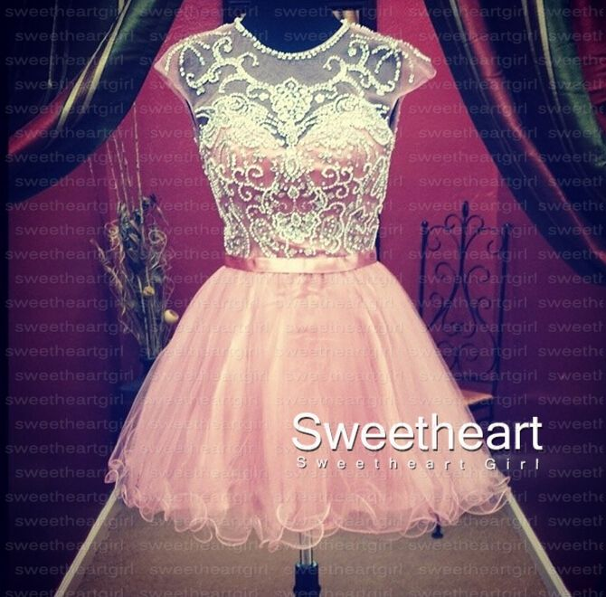 Sweetheart Girl   A-line Round Neckline Tulle Short Prom Dresses, Homecoming Dresses   Online Store Powered by Storenvy
