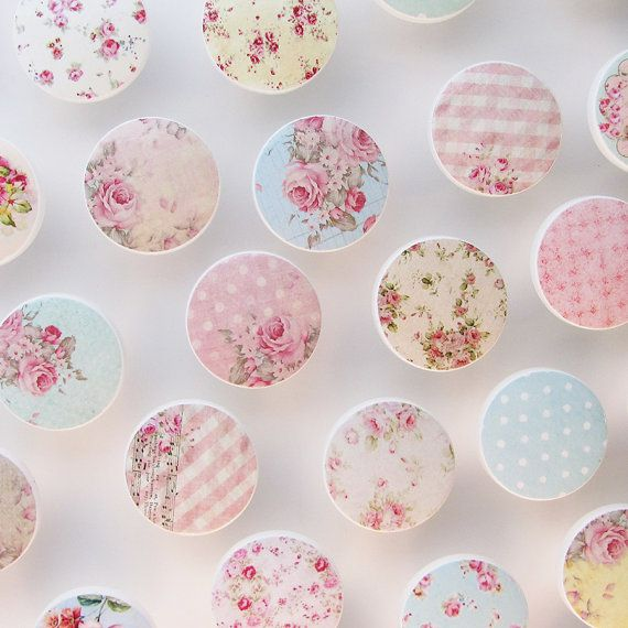 Shabby Drawer Knobs - Huge Assortment- Cottage Chic Knobs, Pretty Floral Drawer Pull, Pink Flowers- Wood Knobs- 1 1/2 Inches - Set of 36
