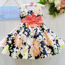 Moda infantil crianças vestido de algodão Rose flores imprimir mangas bebés meninas vestidos para o verão trajes de festa vestido de menina HA372(China (Mainland))