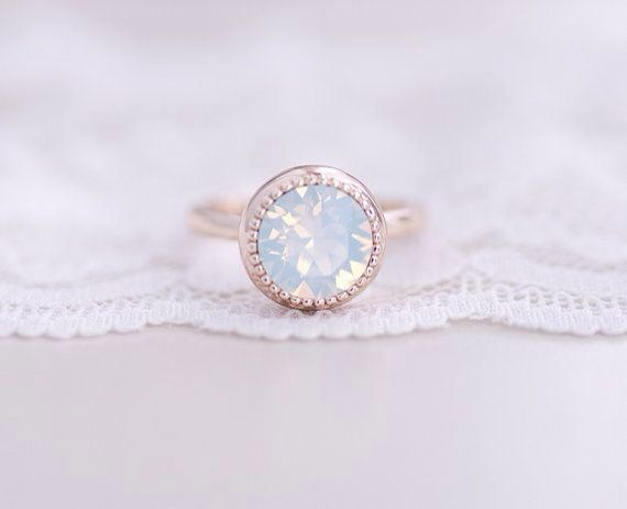opal and rose gold engagment ring.
