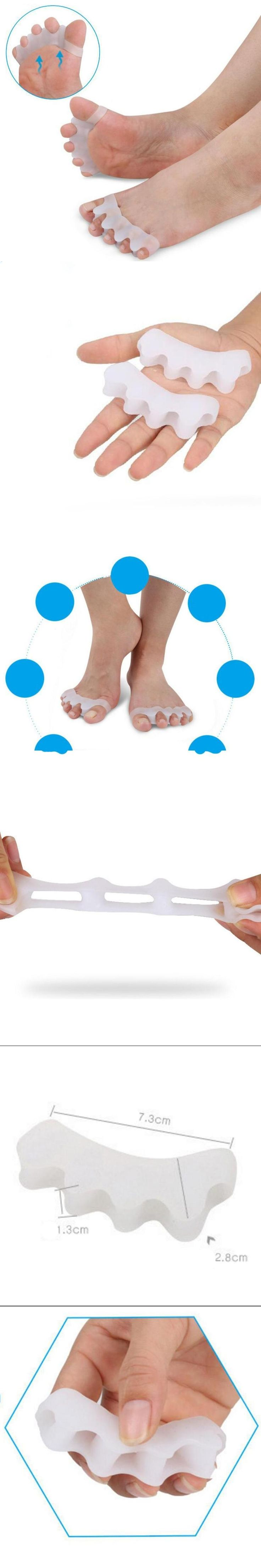 1Pair Silicone Toe Separators Feet Reusable Gel Toe Separators Alignment Overlapping Toes Orthotics Hammer Toes Tool A4