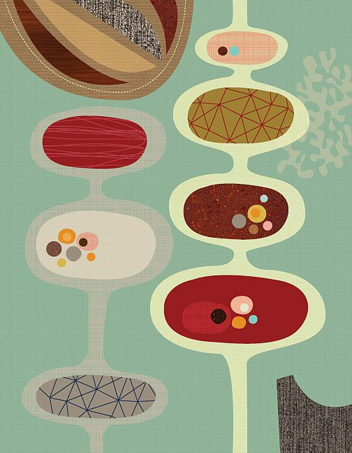 These imperfect oval shapes are an aspect of 50s design that is quite common and what i like is each of them has their own 'contents' yet again reminiscent of virus cells, carrying the germs inside them.