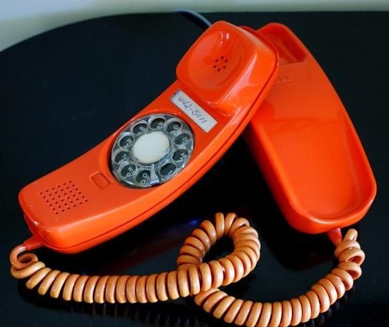 Bronco Orange! Vintage Mid Century Modern Orange Rotary Phone 1970s