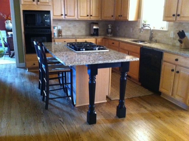 kitchen island support legs and skirt make a beautiful difference diy projects to try pinterest islands pictures of and countertop - Granite Kitchen Island Table