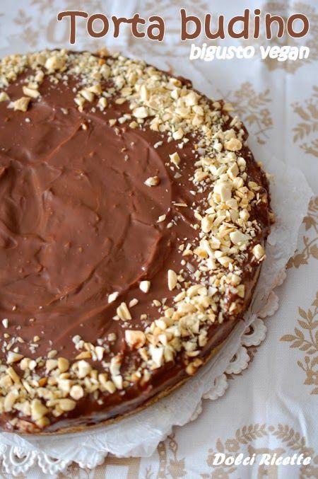 Torta budino bigusto vegan #tortavegan #budino #cioccolato #budinoalcioccolato #budinoallemandorle