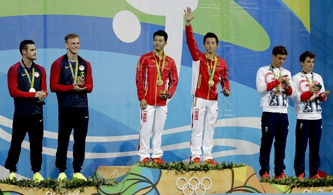 2016-08-09 Gold medalists China's Lin Yue, Chen Aisen, US' Silver David Boudia, Steele Johnson, Britain's Bronze Tom Daley, Daniel Goodfellow, in 10m Sync Platform Diving