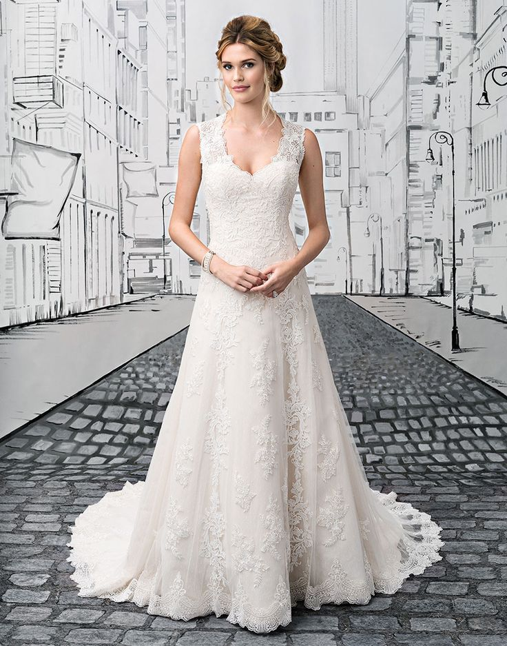 Justin alexander wedding dresses style 8822 classic a line for Queen anne neckline wedding dress