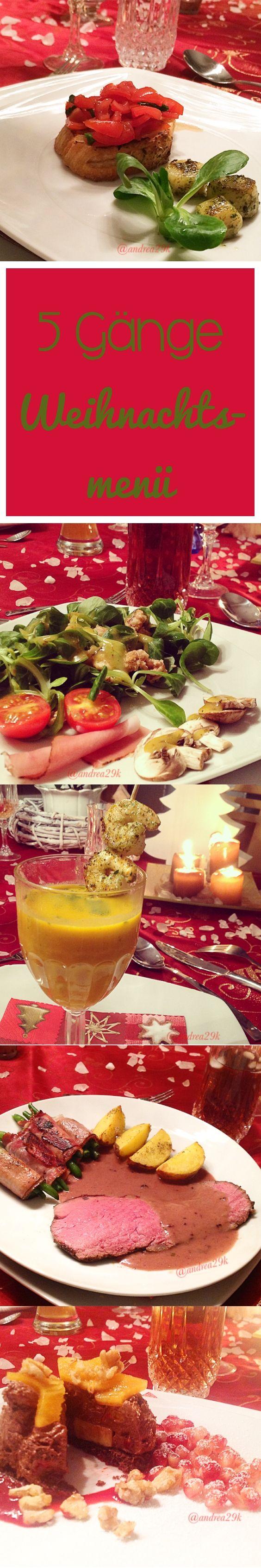 Mein 5-Gänge-Weihnachtsmenü! Vorspeise: Bruschetta mit Jakobsmuscheln 1. Zwischengang: Salat mit karamellisierten Walnüssen 2. Zwischengang: Scharfe Ingwer-Kürbissuppe Hauptgang: Roastbeef mit Rosmarinkartoffeln Nachspeise: Mousse au Chocolat Törtchen #weihnachten #menü #vorspeise #zwischengang #hauptgang #dessert #suppe #salat #roastbeef