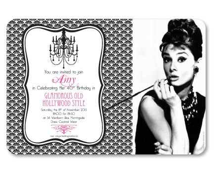 Old Hollywood Glamour Invitation - 21st Birthday Party Invitations | Welcome Dinner Old ...
