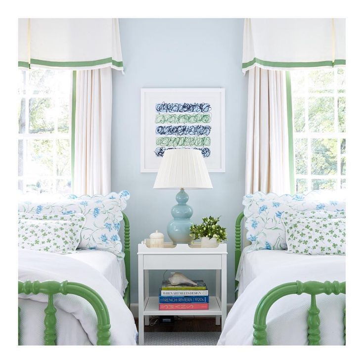 side table between beds soft blue and bold green accents for color.. Girls Bedroom Decorating Idea sarah bartholomew deisgn