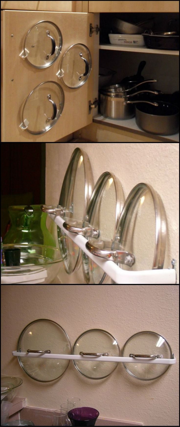 How To Make Your Own Pot Lid Organizer  http://theownerbuildernetwork.co/3vnc  Don't you just hate it when you can't find the right lid for a pot? Whether it's because you don't have a proper storage solution for pot lids, or because your kitchen is just disorganized, here are a couple of simple, inexpensive solutions!