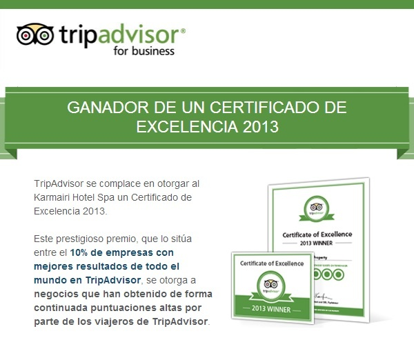 ¡Buenas noticias!   Karmairi Hotel Spa ha sido galardonado con un Certificado de Excelencia por TripAdvisor.