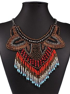 Shop Multicolor Beaded Tassel Statement Collar Necklace from choies.com .Free shipping Worldwide.$12.9