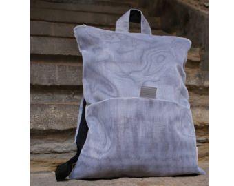 Unique design backpack & messenger bag Gray Jute bag Black