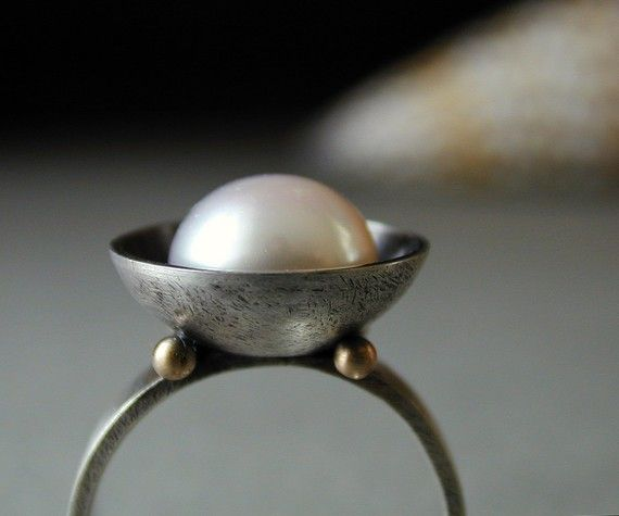 I'm not a huge fan of pearls, but this is stunning! ring, sterling silver, 14k gold, rreshwater pearl. $155.00