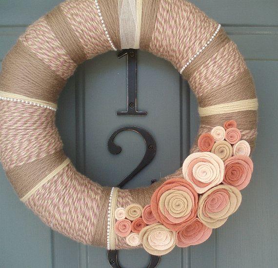 Yarn Wreath Felt Handmade Door Decoration - Rosey Cheeks 12in