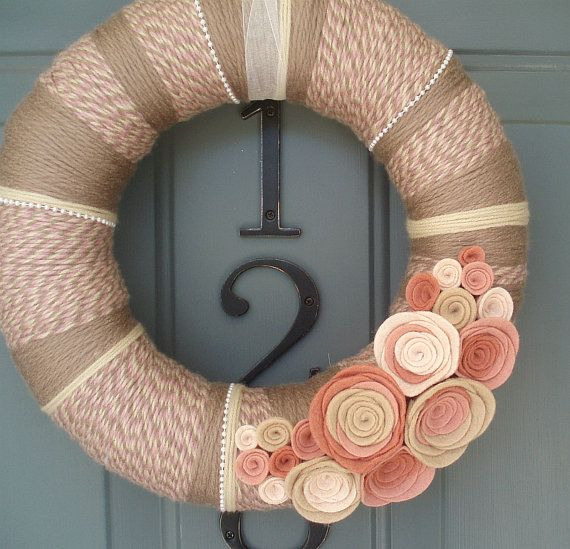 Yarn Wreath Felt Handmade Door Decoration - Rosey Cheeks 12in