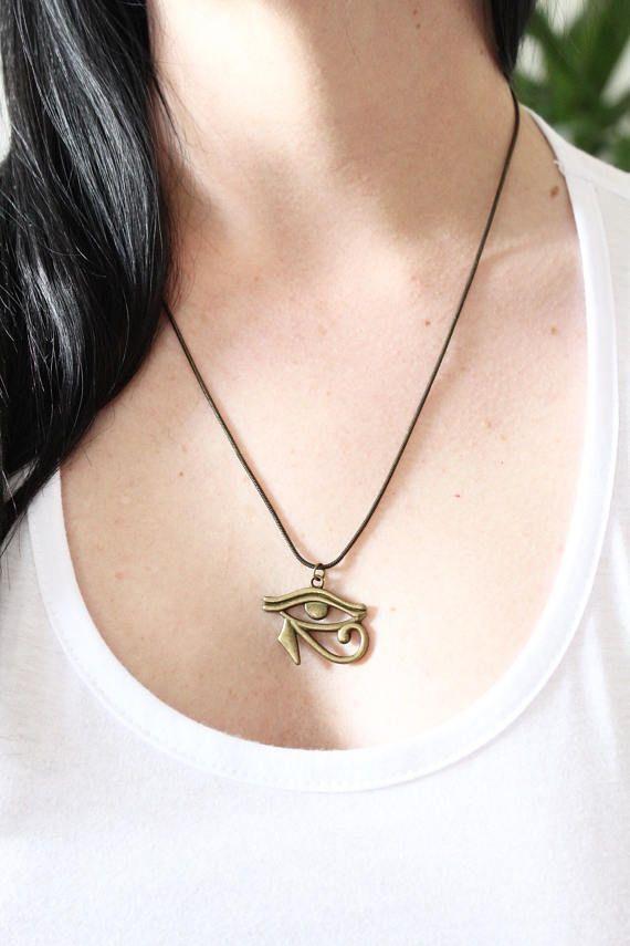 Antique gold/bronze Eye of Horus UNISEX necklace boho