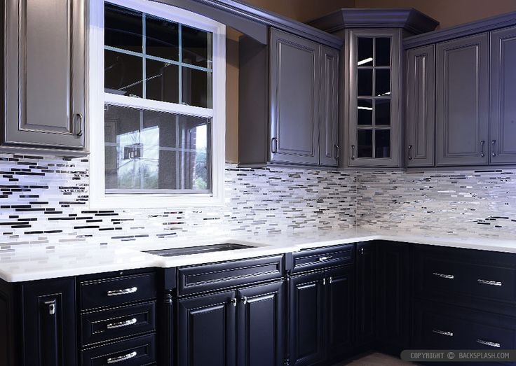 Modern Kitchen Backsplash Dark Cabinets black-cabinet-white-countertop-marble-metal-backsplash-tile love