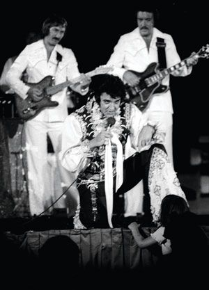 "Elvis' band: ""In rehearsals, and on stage, Elvis keyed off the guitar,"" says James Burton. ""We had great eye contact. He loved guitar. If I'd play a lick or something, he would just turn around and say, 'Yeah, baby!' It was a great communication that all of us had."""