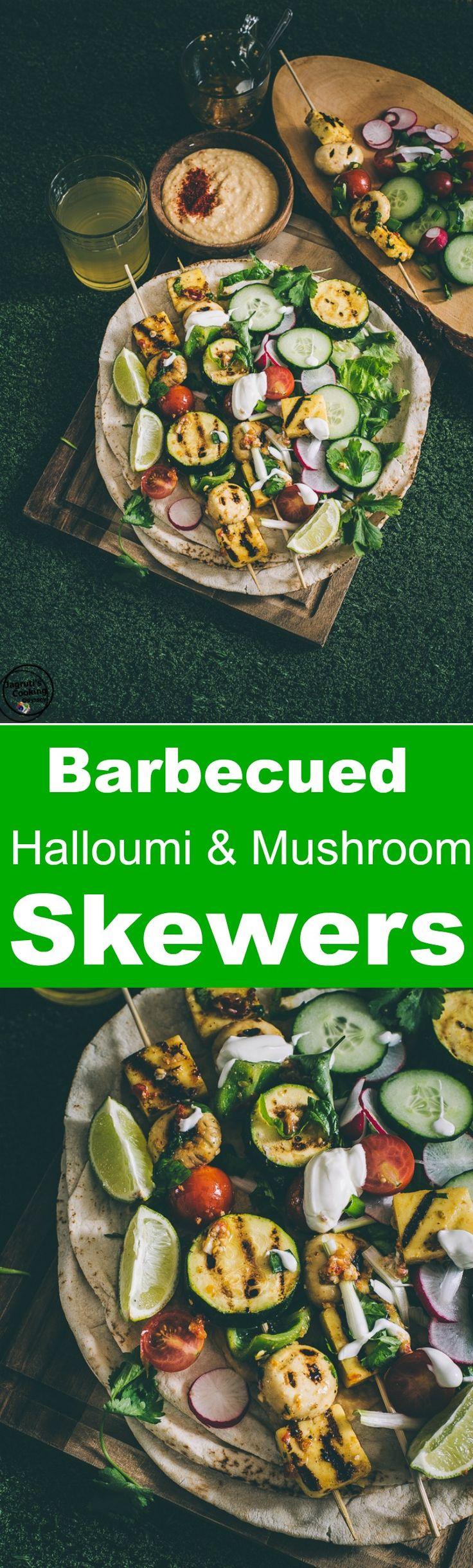 Barbecued Halloumi & Mushroom Skewers