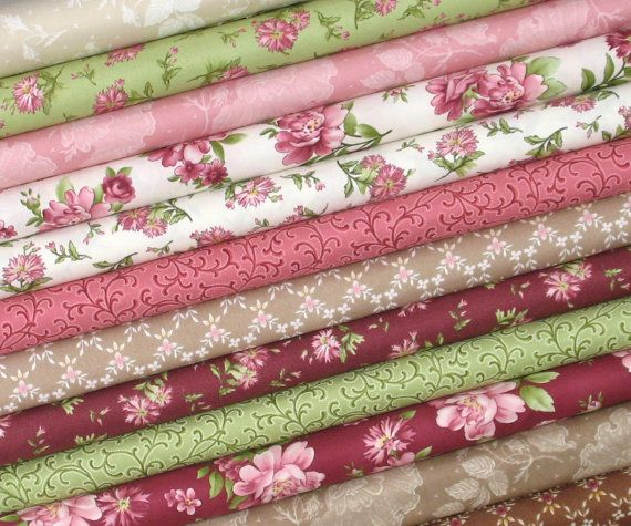 "Twelve different romantic fabrics from Maywood Studios Graceful Moments collection make up this bundle of fabrics. Wonderful shades of pink, deep red, green, tan, brown, white, and ivory combine in this gorgeous floral fabric collection. 100% cotton quilt store quality fabric 44/45"" width Fat quarter = 18 x 22  Back to my shop: http://www.etsy.com/shop/fabric406  Please Like or Follow fabric406 on social media for the weekly specials, newly arrived fabrics, tips, and quilting inspiration…"